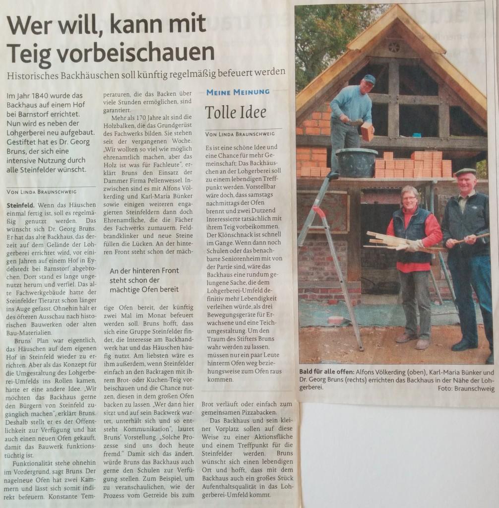 OV-Artikel zur Backhaus-Eröffnung